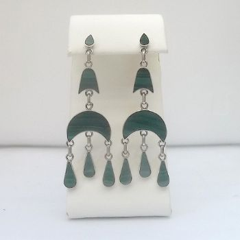 Chilean 2 tier dangle post earrings with Malachite